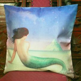 Meerjungfrau auf dem Strand Fantasy Kissenbezug
