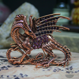 Large fanatsy dragon brooch copper colored