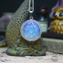 Pentagramm Halskette Naturstein Opal