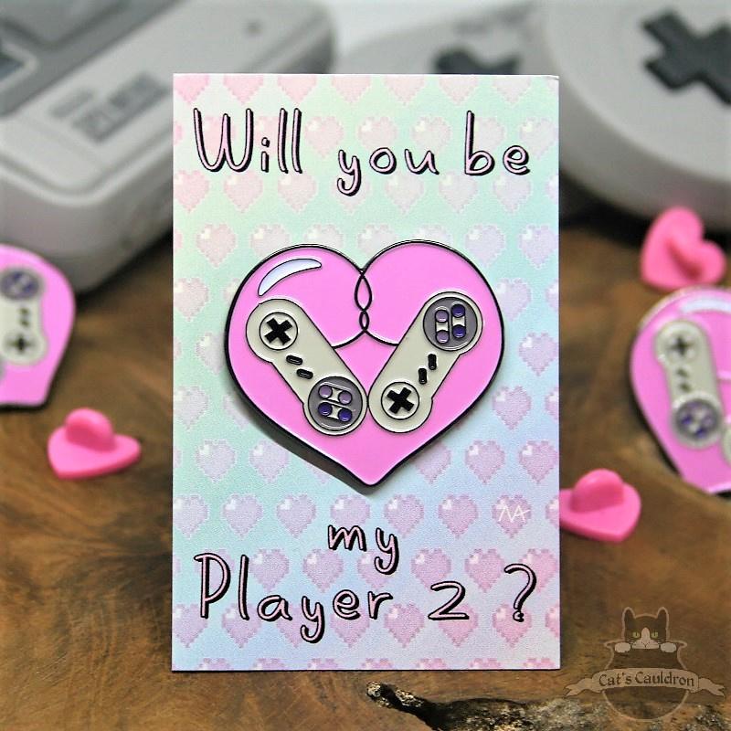 Retro Gaming Player2 Valentinstag Antrag Pin