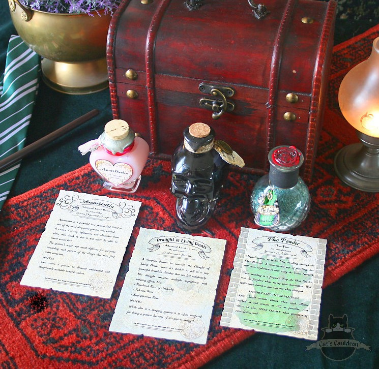 Potion set Amortentia, Draught of Living Death, Floo Powder
