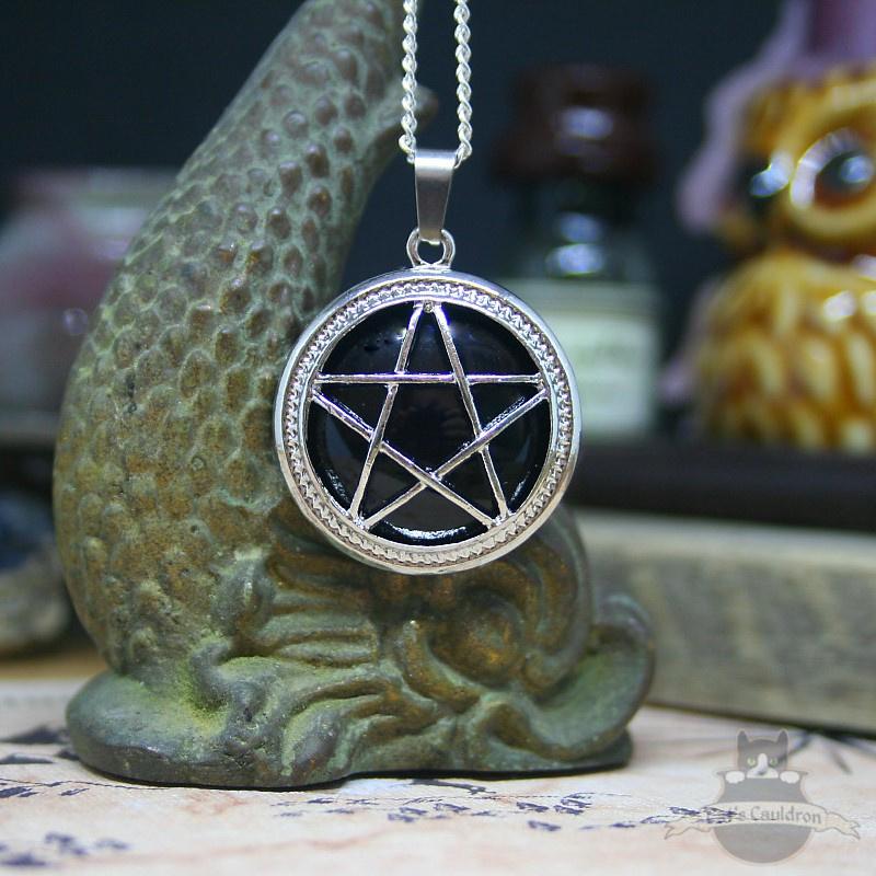Pentagram natuursteen ketting Zwarte Agaat