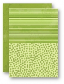 NEVA030 Doublesided background sheets A4 green flowers