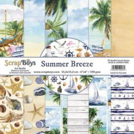 ScrapBoys Summer Breeze paperpad 24 vl+cut out elements-DZ SUBR-09 190gr 15,2 x 15,2cm