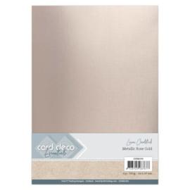 Card Deco Essentials - Metallic Linnenkarton - Metallic Rose Gold  CDEML004