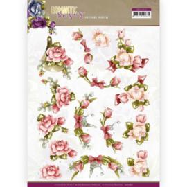 3D cutting sheet - Precious Marieke - Romantic Roses - Pink Rose  CD11611