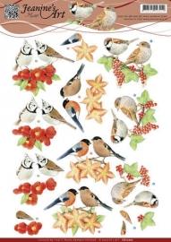 CD10702 3D Knipvel - Jeanines Art - Rode vogeltjes