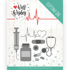 Dies - Jeanine's Art - Well Wishes - Getting Well  JAD10092 Formaat ca. 10,5 x 8 cm