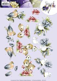 3D knipvel - Precious Marieke -  Birdhouses and flowers  CD11217