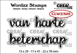 Crealies Clearstamp Wordzz van Harte beterschap (NL) CLWZS03 22x78mm