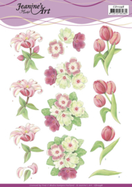 3D Cutting Sheet - Jeanine's Art - Red Flowers  CD11298