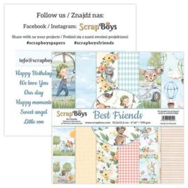 ScrapBoys Best Friends paperpad 24 vl+cut out elements-DZ BEFR-09 190gr 15,2x15,2cm