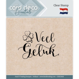 Card Deco Essentials - Clear Stamps - Veel Geluk CDECS026