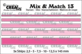 Crealies Mix & Match strips met dots (5x) CLMix13 max. 12,5x145 mm