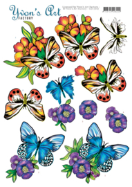 3D Cutting Sheet - Yvon's Art - Butterflies Blue CD11642