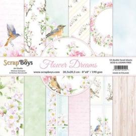 ScrapBoys Flower dreams paperpad 12 vl+cut out elements-DZ FLDR-10 190gr 20,3x20,3cm