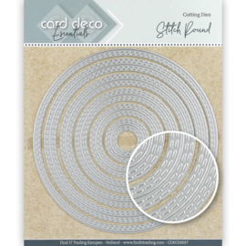 Card Deco Essentials Cutting Dies Stitch Round CDECD0272 ca. 12 x 12 cm (6-delig)