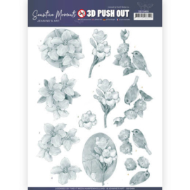 3D Push Out - Jeanine's Art - Sensitive Moments - Grey Freesias SB10469