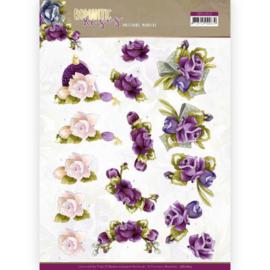 3D cutting sheet - Precious Marieke - Romantic Roses - Purple Rose CD11613