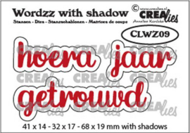 Crealies Wordzz with Shadow Hoera getrouwd (NL) CLWZ09 68x19mm