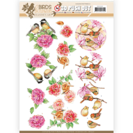 3D Pushout - Jeanine's Art - Birds and Flowers - Pink birds SB10320