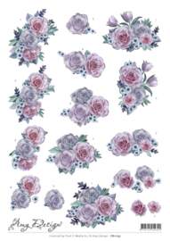 3D Knipvel - Amy Design - Purple Flowers  CD11153