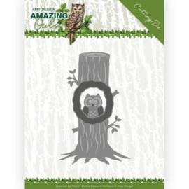 Dies - Amy Design - Amazing Owls - Owl in Tree ADD10218   Formaat ca. 7,7 x 12 cm