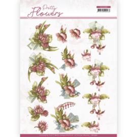 3D cutting sheet - Precious Marieke - Pretty Flowers - Red Flowers  CD11580