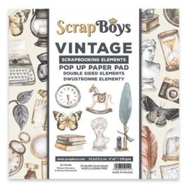 Scrapboys POP UP Paper Pad double sided elements - Vintage POPVI-03 190gr 15,2x15,2cm