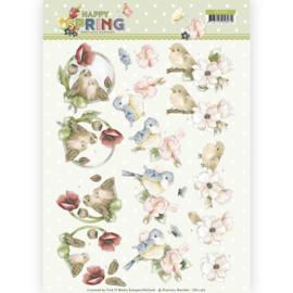 3D Knipvel - Precious Marieke - Happy Spring - Happy Birds   CD11262