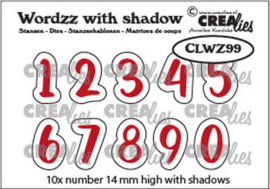 Crealies Wordzz with Shadow Cijfers CLWZ99 14mm