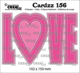 Crealies Cardzz no 156 LOVE (ENG) CLCZ156 102x150mm