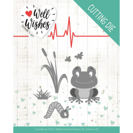 Dies - Jeanine's Art - Well Wishes - Smiling Frog  JAD10094  Formaat ca. 7,5 x 7,5 cm