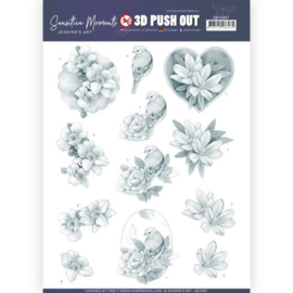 3D Push Out - Jeanine's Art - Sensitive Moments - Grey Rose  SB10467