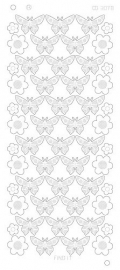 CD3078 Flowers Butterflies Platinum zilver