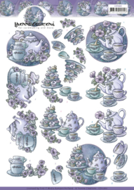 3D Knipvel - Yvonne Creations - Teapot in purple   CD11260