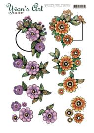 3D Cutting Sheet - Yvon's Art - Label Flowers CD11678