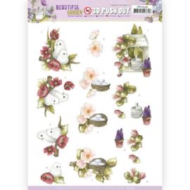 3D Push Out - Precious Marieke - Beautiful Garden - Pigeon  SB10534