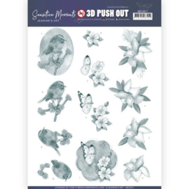 3D Push Out - Jeanine's Art - Sensitive Moments - Grey Lily  SB10471
