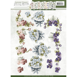 3D Knipvel - Precious Marieke - Fantastic Flowers - Violets  CD10856