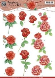 CD10752 3D Knipvel - Jeanines Art - Rode rozen