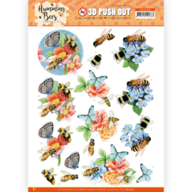 3D Push Out - Jeanine's Art - Humming Bees -Bees and Bumblebee  SB10558