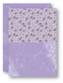 NEVA023 Doublesided background sheets A4 purple roses