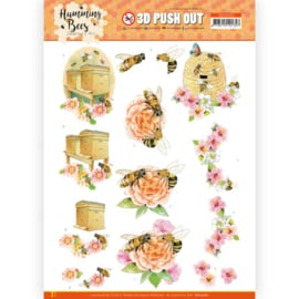 3D Push Out - Jeanine's Art - Humming Bees - Beehive  SB10560
