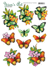 3D Cutting Sheet - Yvon's Art - Butterflies orange CD11641