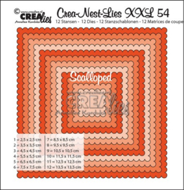 Crealies Crea-nest-dies XXL no. 54 scalloped squares max. 13,5x13,5 cm / XXL54
