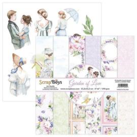 ScrapBoys Garden of love paperpad 24 vl+cut out elements-DZ GALO-09 190gr 15,2x15,2cm