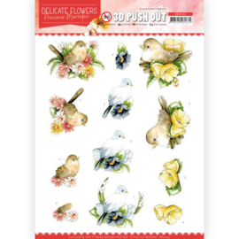 3D Push Out - Precious Marieke - Delicate Flowers - Birds SB10453