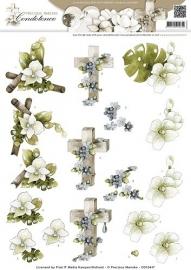 CD10447 3D Knipvel - Precious Marieke - Condoleance - Sympathy Flowers Color