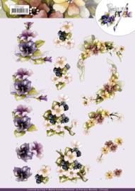 3D Cutting Sheet - Precious Marieke - Flowers with Bow  CD11597